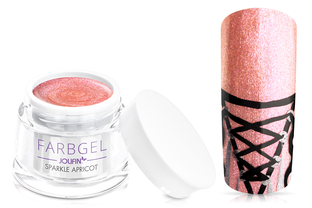 Jolifin Farbgel sparkle apricot 5ml