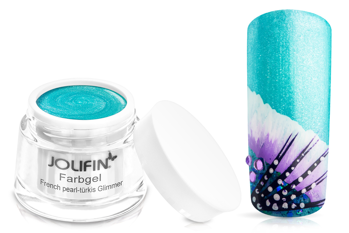 Jolifin Farbgel French pearl-türkis Glimmer 5ml