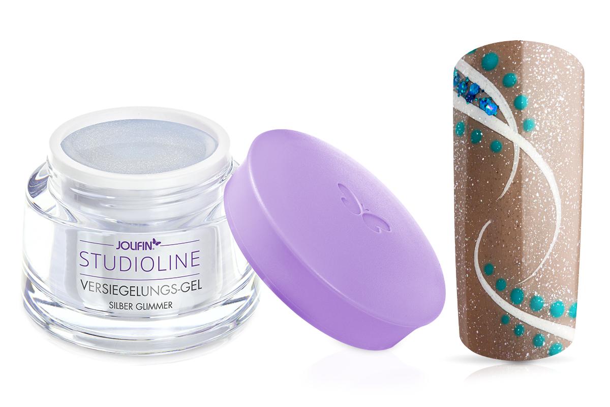 Jolifin Studioline - Versiegelungs-Gel silber Glimmer 5ml