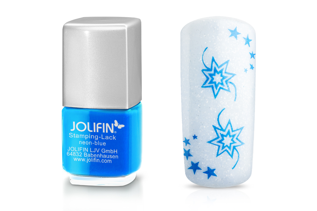 Jolifin Stamping-Lack - neon-blue 12ml