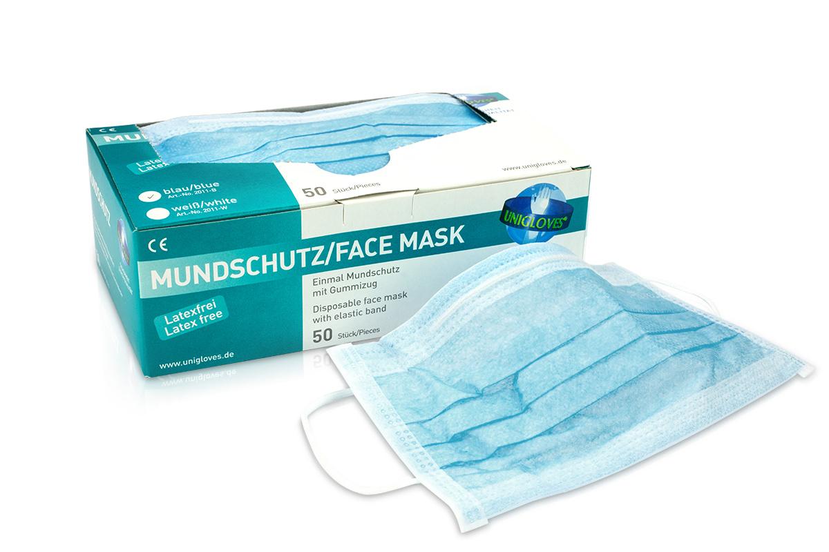 Mundschutz 50 Stück Blue latexfrei