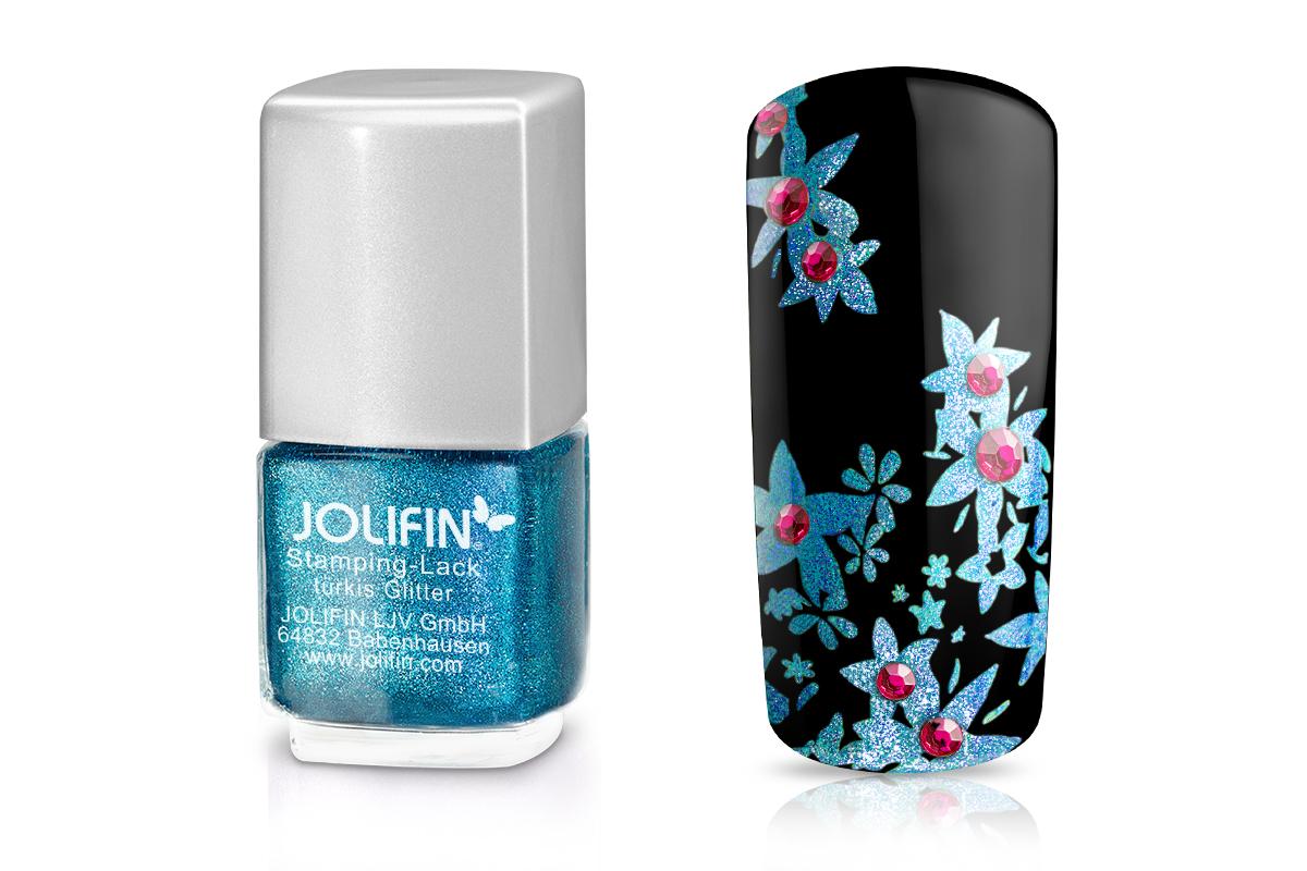 Jolifin Stamping-Lack - türkis Glitter 12ml