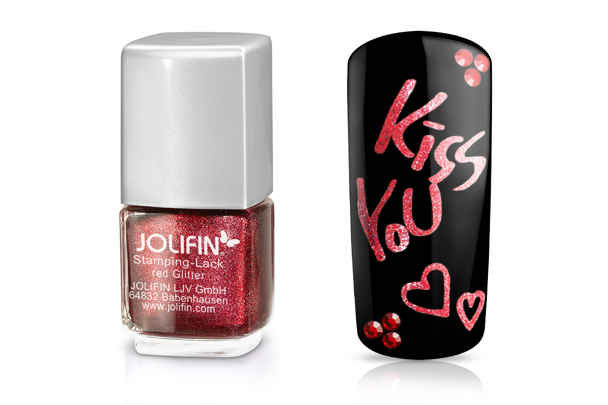 Jolifin Stamping-Lack - red Glitter 12ml