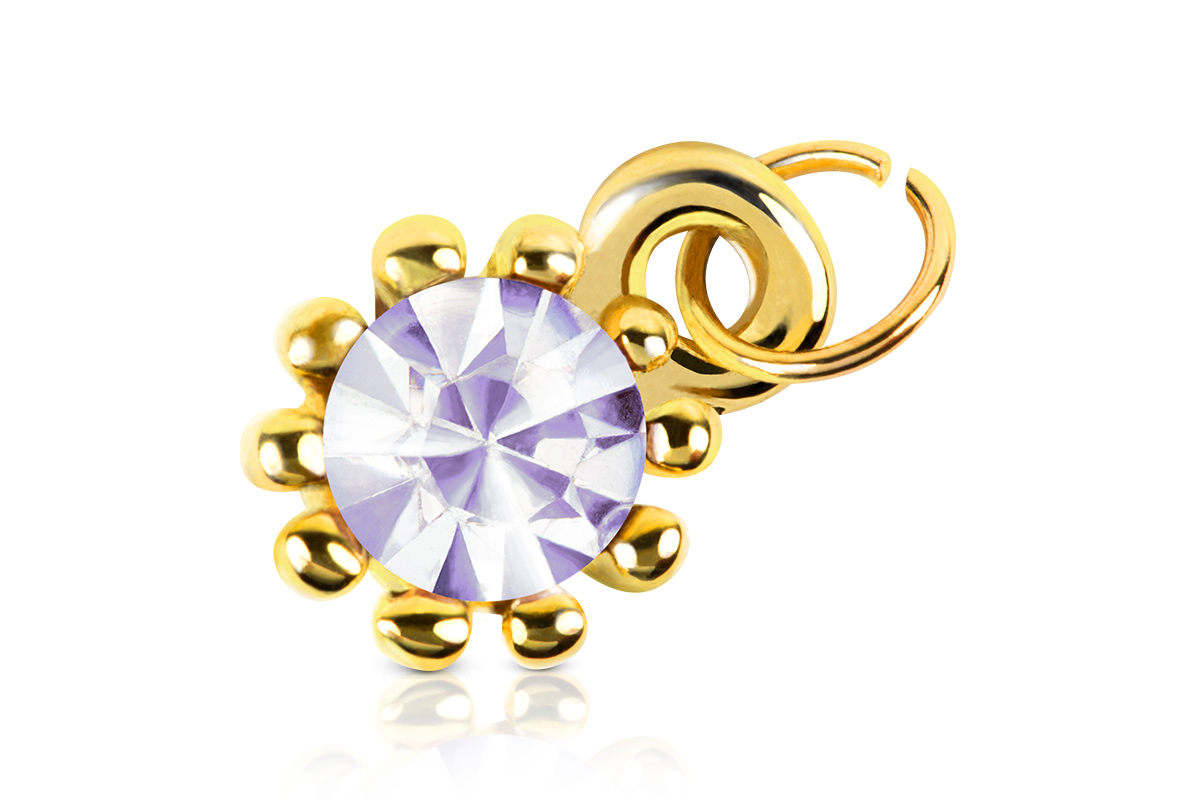Jolifin Nagel-Piercing Gold mit lila Stein