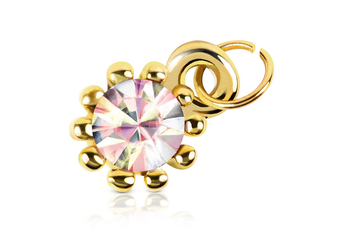 Jolifin Nagel-Piercing Gold mit irisierendem Stein