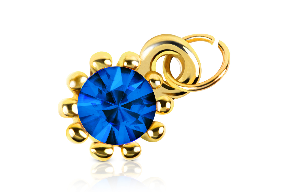 Jolifin Nagel-Piercing Gold mit blauem Stein