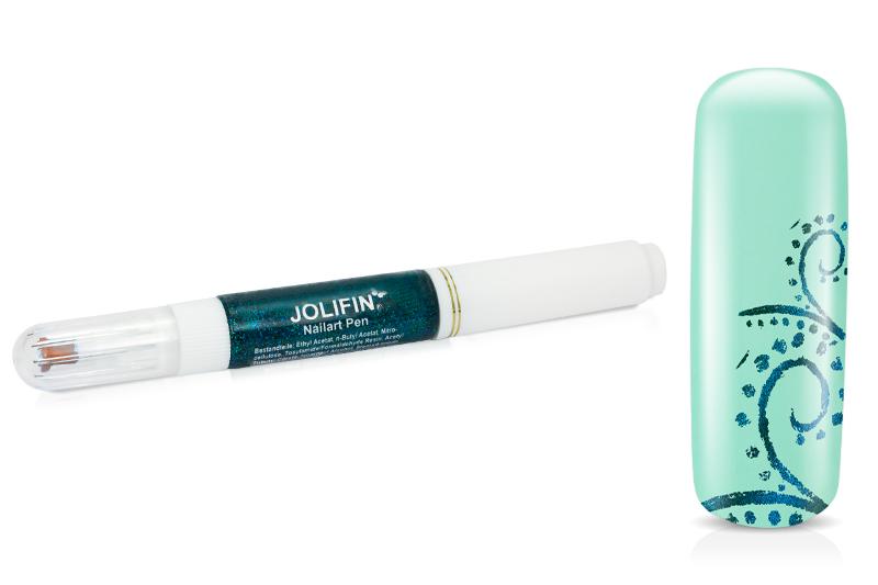 Jolifin Nail-Art Pen türkis glitter 10ml