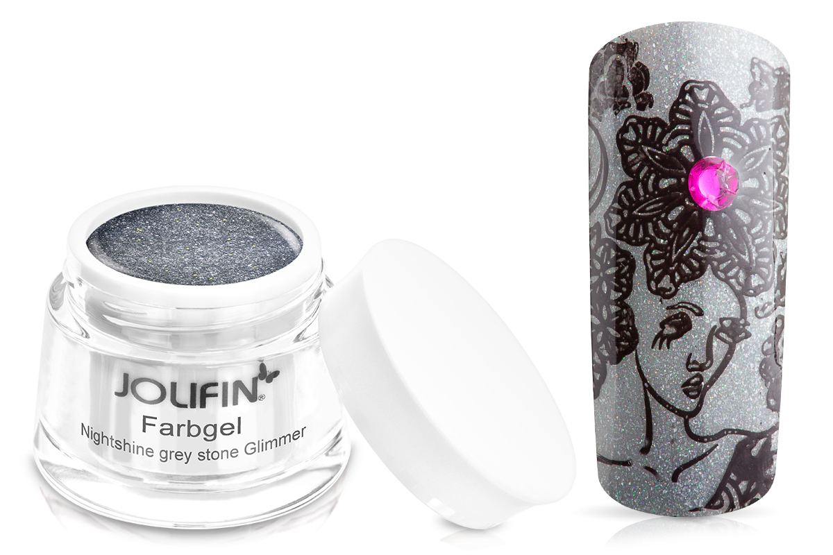 Jolifin Farbgel Nightshine grey stone Glimmer 5ml