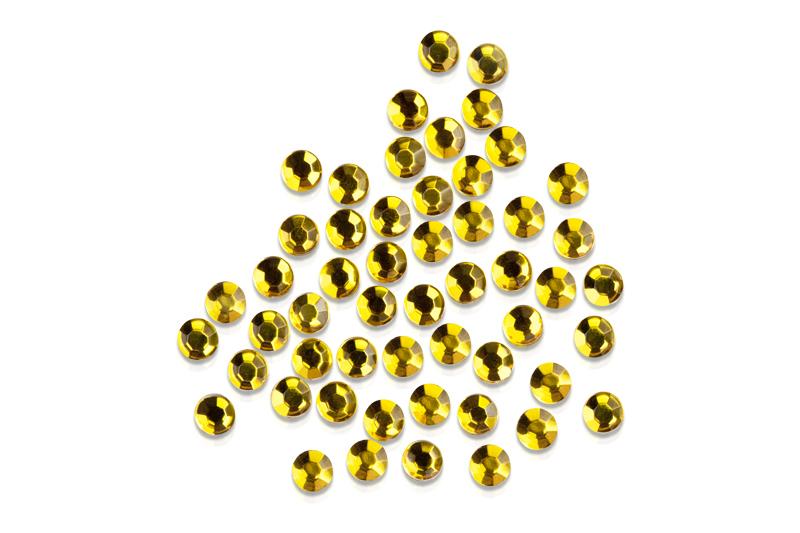 Straßsteine rund intensiv gold