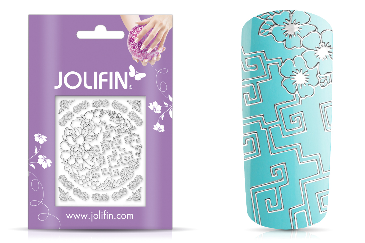 Jolifin Ornament Nail-Sticker Silver 6