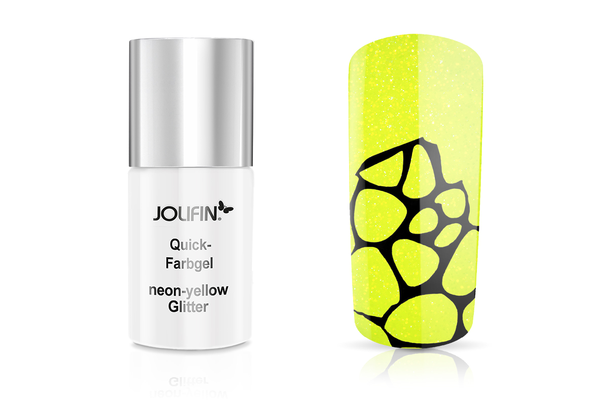 Jolifin Carbon Quick-Farbgel neon-yellow Glitter 11ml
