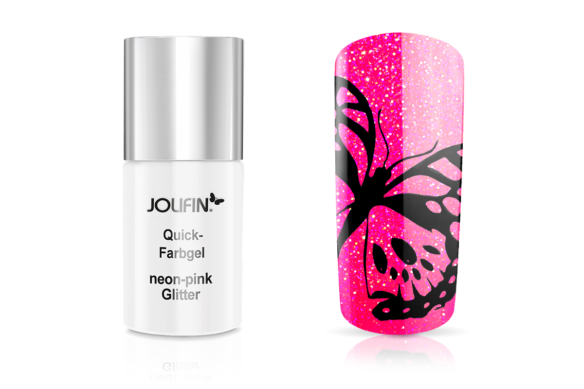 Jolifin Quick-Farbgel neon-pink Glitter 11ml