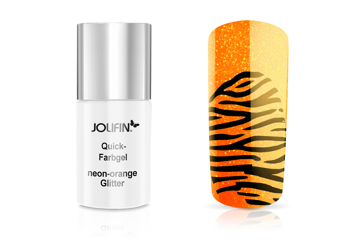 Jolifin Quick-Farbgel neon-orange Glitter 11ml