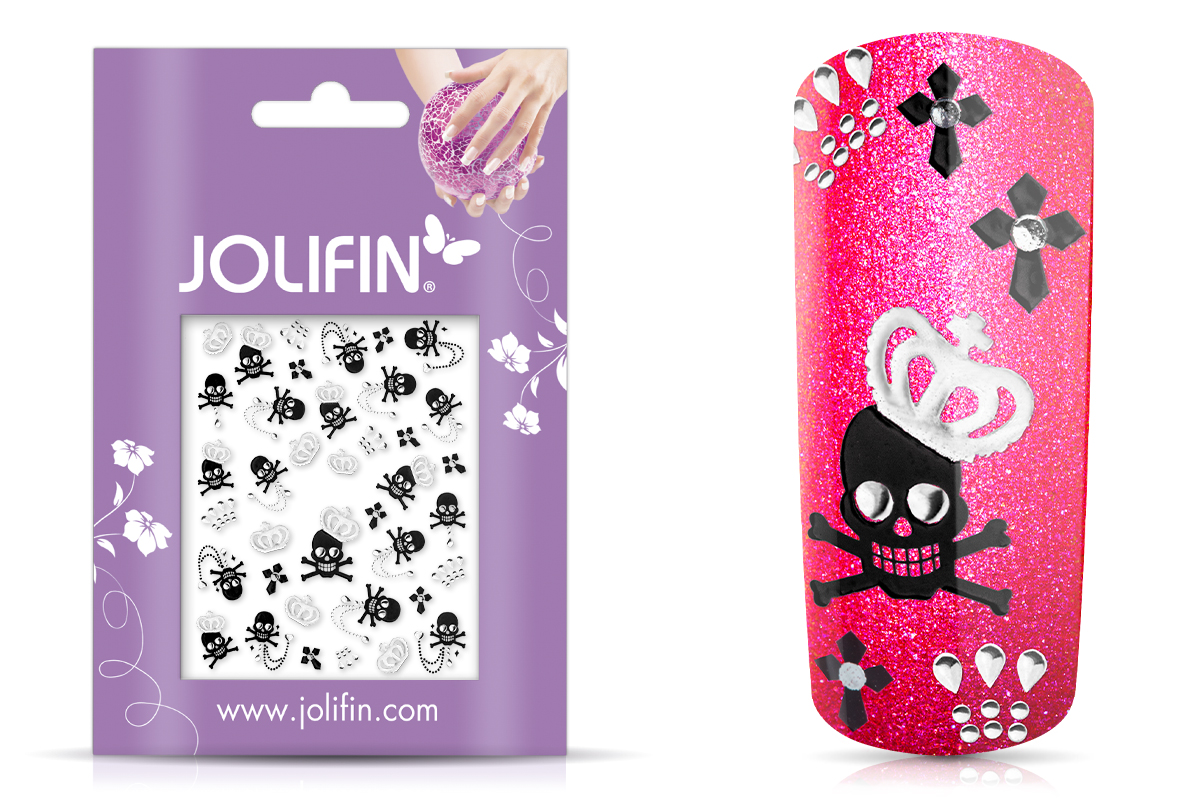 Jolifin Silver-Black Nailart Sticker 1