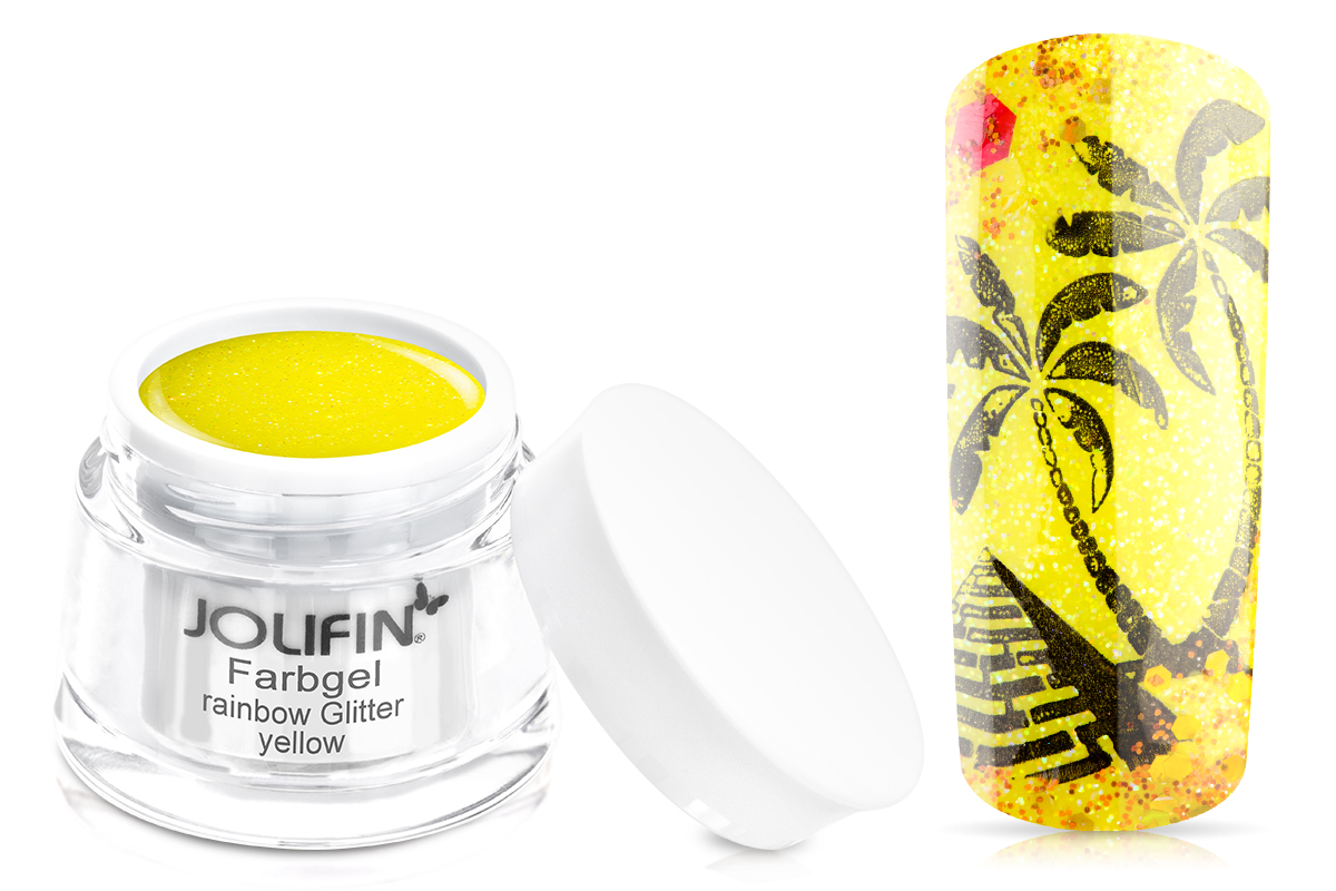 Jolifin Farbgel rainbow Glitter yellow