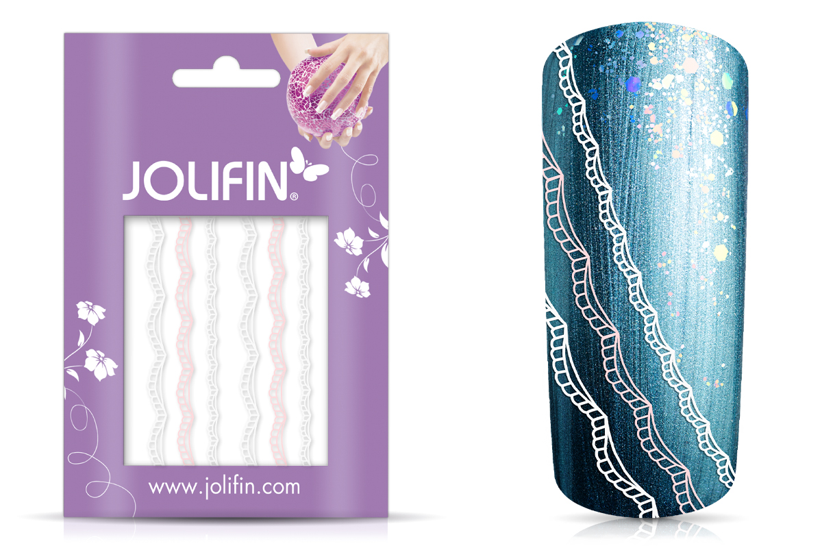 Jolifin Lace Sticker - Pink-White 1
