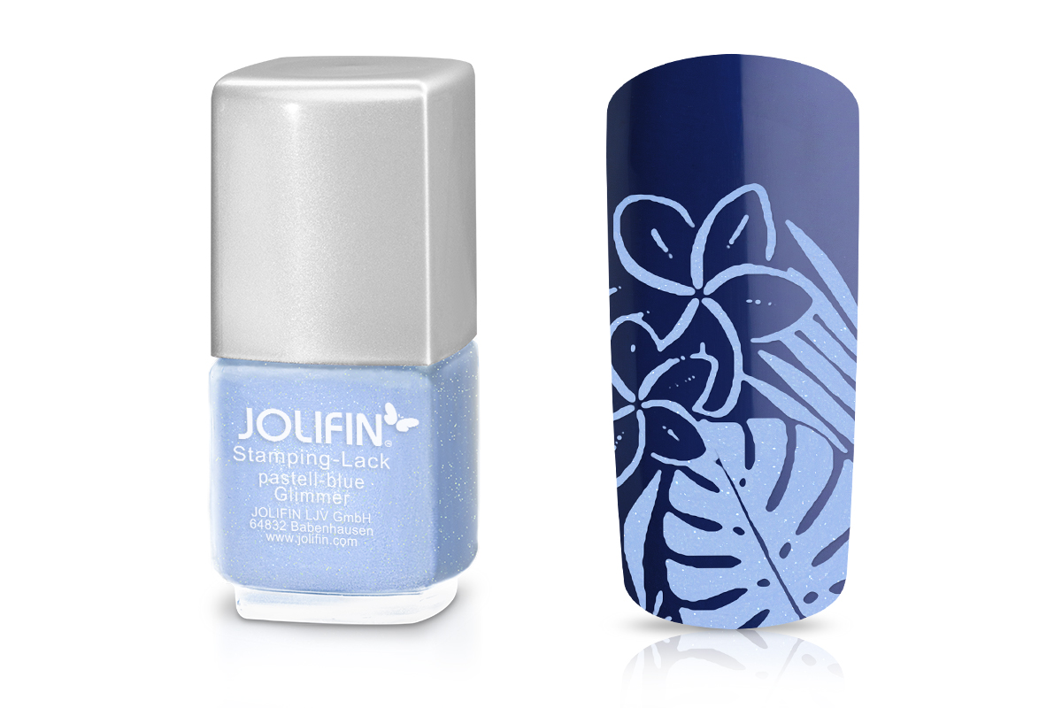 Jolifin Stamping-Lack pastell-blue Glimmer 12ml