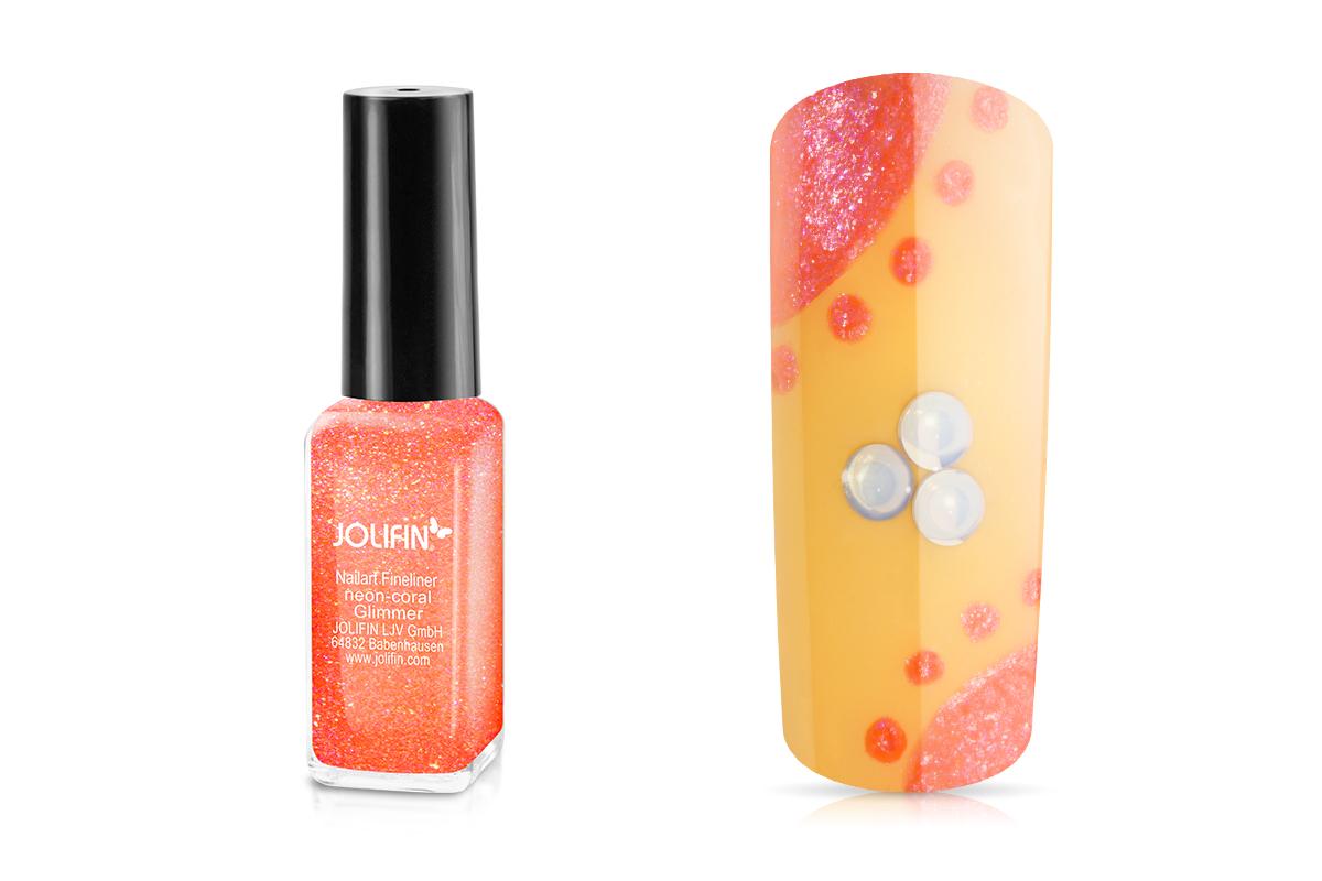 Jolifin Nailart Fineliner neon-coral Glimmer 10ml