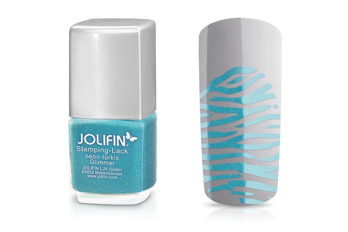 Jolifin Stamping-Lack - neon-türkis Glimmer 12ml