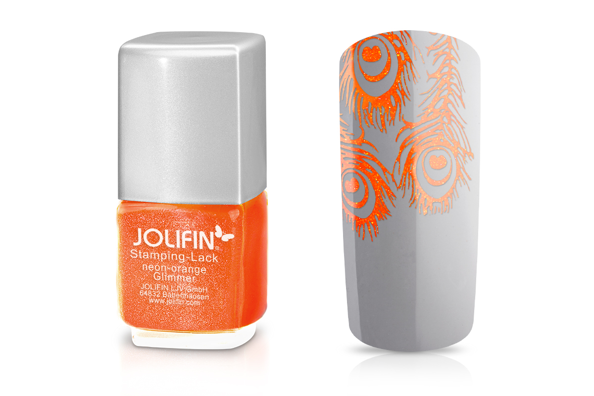 Jolifin Stamping-Lack - neon-orange Glimmer 12ml