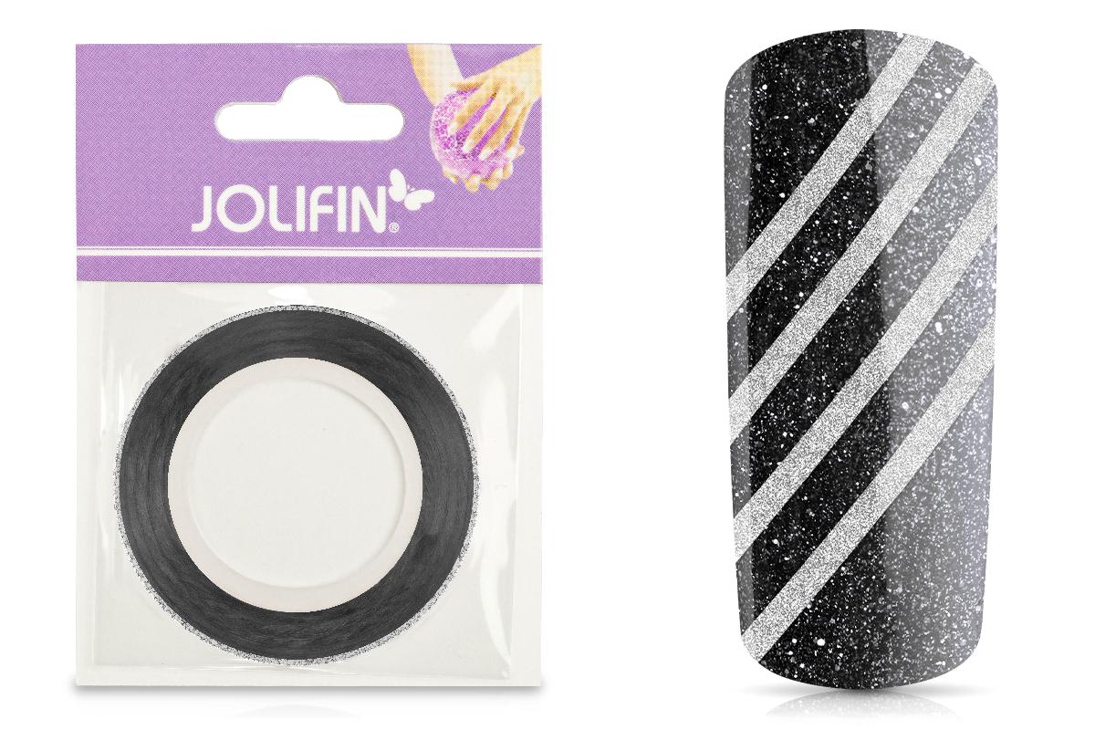Jolifin Glitter Pinstripes silber 2mm