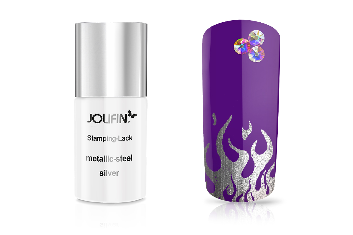 Jolifin Stamping-Lack - metallic-steel silver 11ml