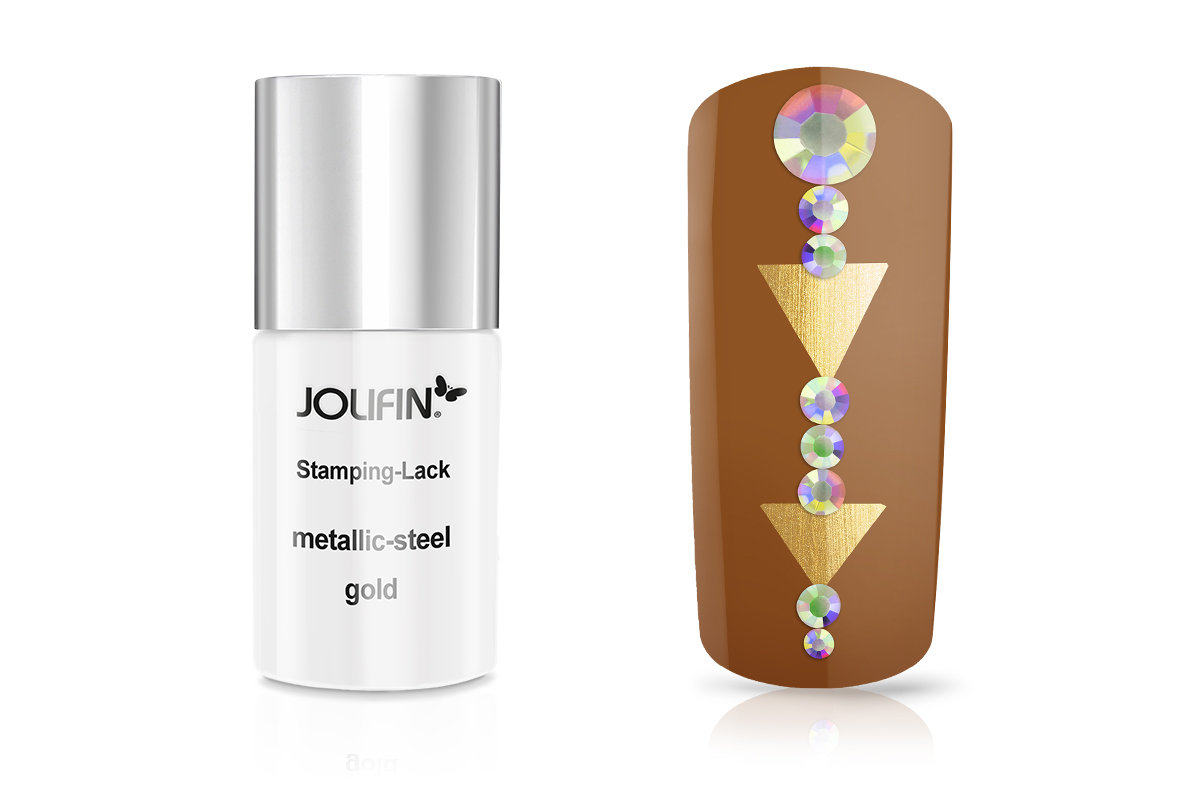 Jolifin Stamping-Lack metallic-steel gold 11ml