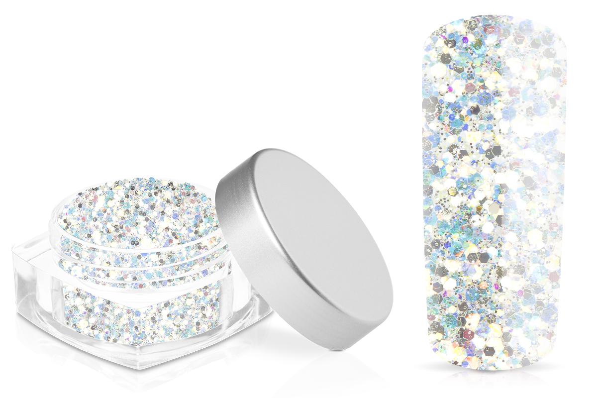 Jolifin Hexagon Glitter white rainbow