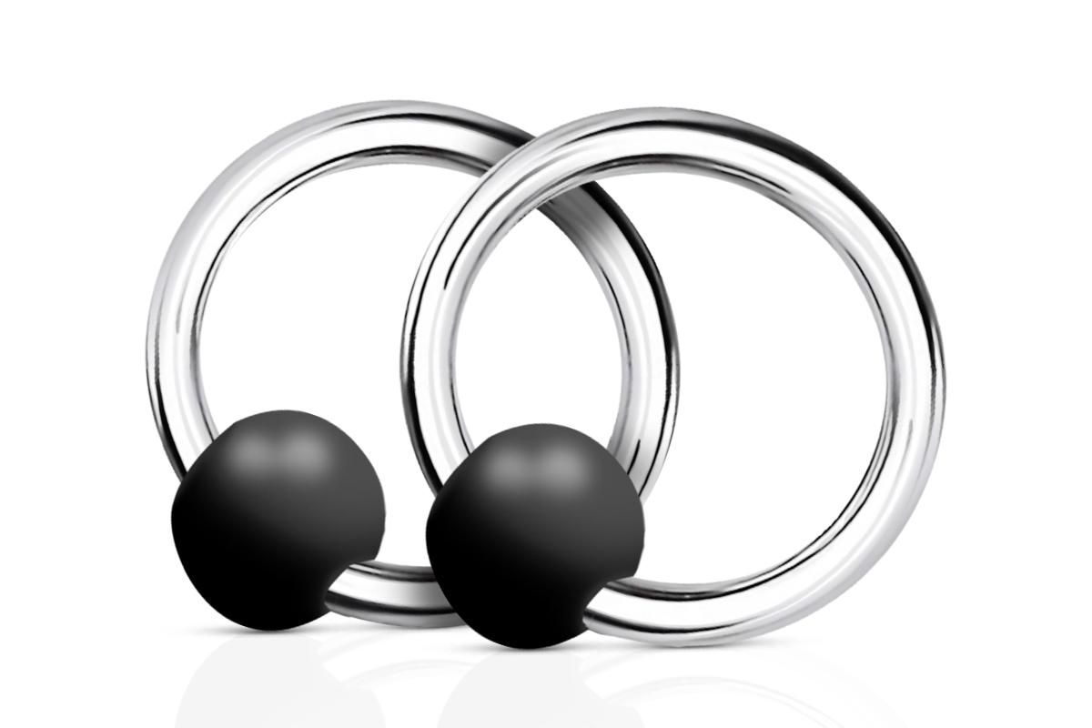Jolifin Nagel-Piercing 925-Silber - Kugel schwarz