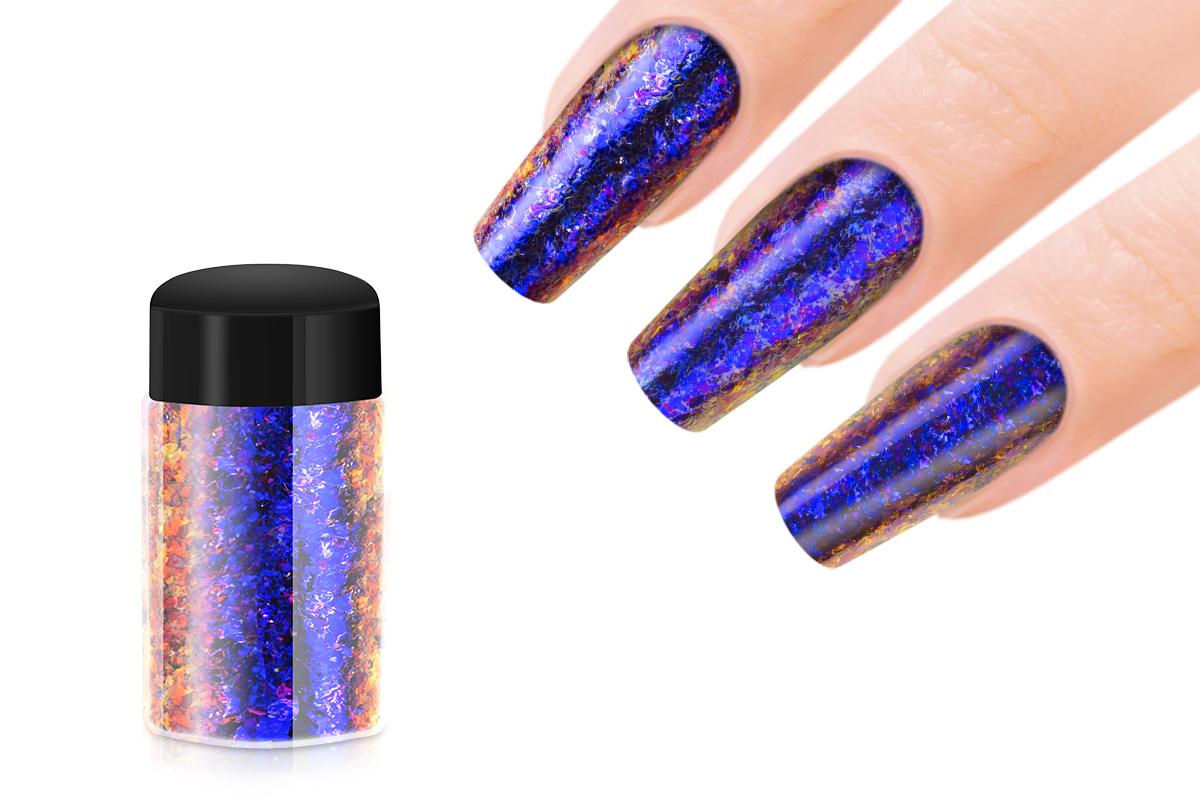 Jolifin Mirror-Chrome Flakes - FlipFlop purple & blue