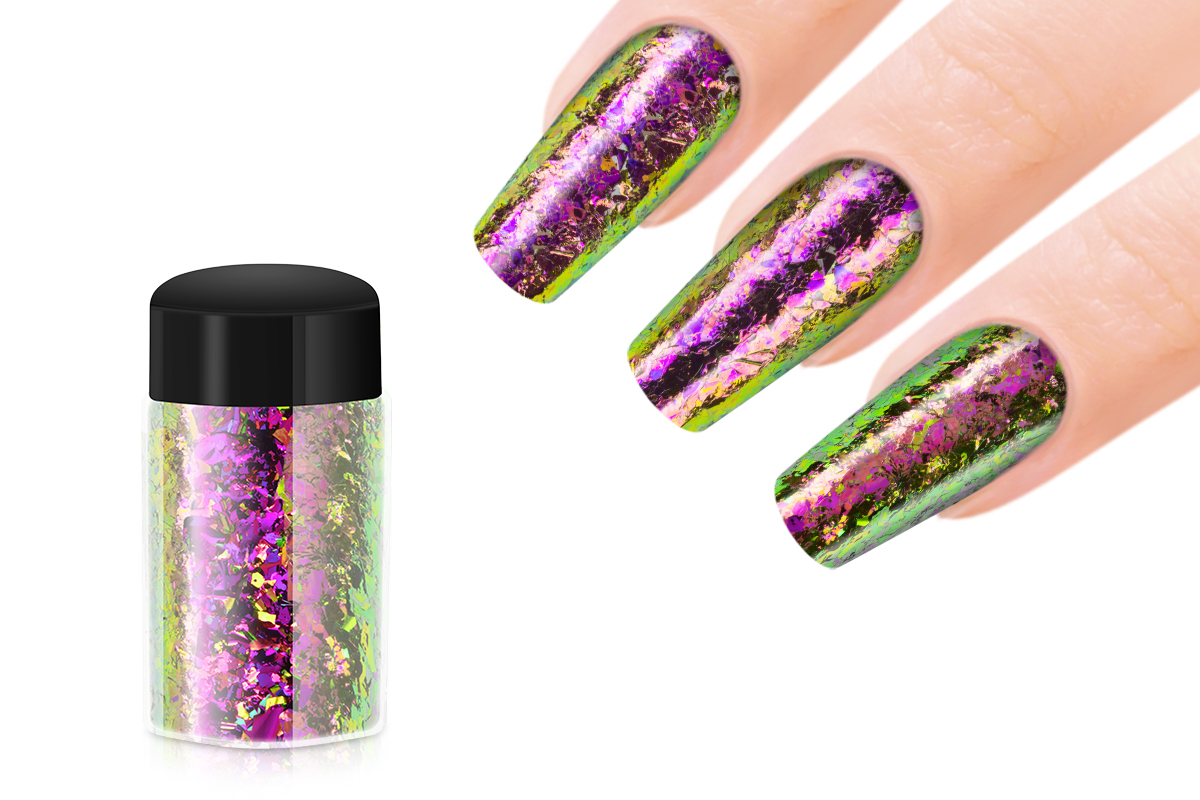 Jolifin Mirror-Chrome Flakes - FlipFlop pink & green