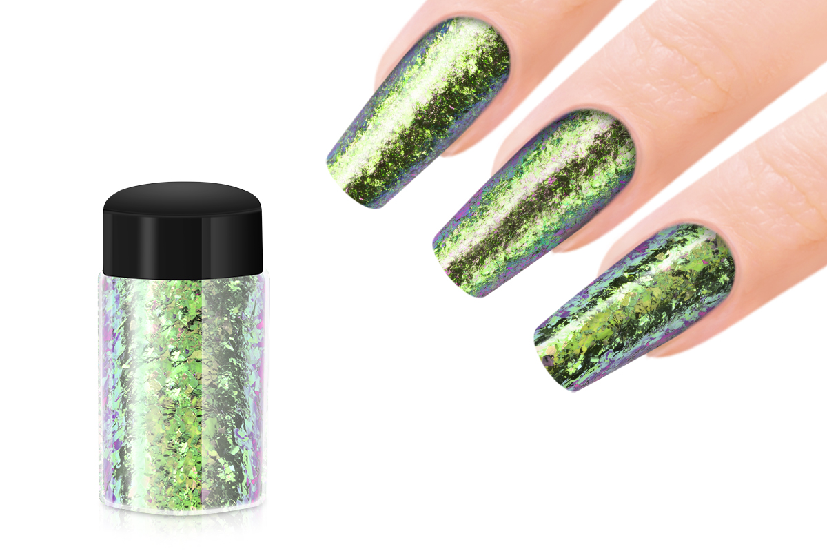 Jolifin Mirror-Chrome Flakes - FlipFlop pink & smaragd