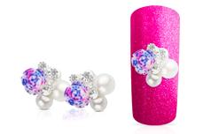 Jolifin Overlay Strass mit Rose pink-lila