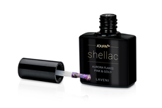 Jolifin LAVENI Shellac - Aurora Flakes purple & gold 12ml