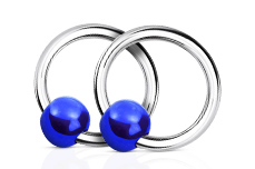 Jolifin Nagel-Piercing 925-Silber - Kugel Blau