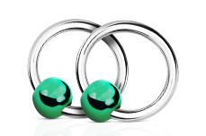 Jolifin Nagel-Piercing 925-Silber - Kugel Grün