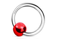 Jolifin Nagel-Piercing 925-Silber - Kugel Rot