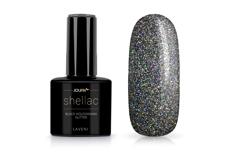 Jolifin LAVENI Shellac - black hologramm Glitter 12ml