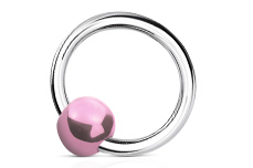 Jolifin Nagel-Piercing Silber- Kugel Perlmutt rosa