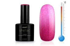 Jolifin LAVENI Shellac - Thermo raspberry-pink sparkle 12ml
