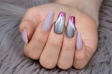 Jolifin LAVENI Shellac - Thermo violet-babypink sparkle 12ml
