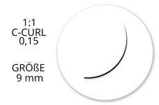 Jolifin Lashes - SingleBox 9mm - 1:1 C-Curl 0,15
