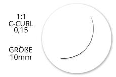 Jolifin Lashes - SingleBox Flat 10mm - 1:1 C-Curl 0,15