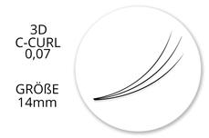 SingleBox 14mm - 3D Wimpernfächer C-Curl 0,07