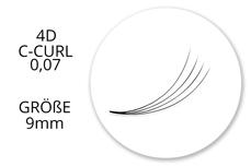 SingleBox 9mm - 4D Wimpernfächer C-Curl 0,07