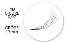 Lashes - SingleBox 13mm - 4D Wimpernfächer C-Curl 0,07