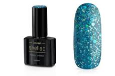 Jolifin LAVENI Shellac - türkis sparkle 12ml