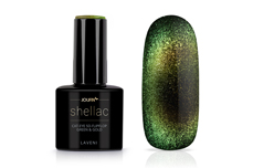 Jolifin LAVENI Shellac - Cat-Eye 5D-FlipFlop green & gold 12ml