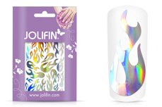 Jolifin Aurora Sticker - Flame silver rainbow