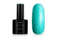 Jolifin LAVENI Shellac - Matt-Effekt aqua Glitter 12ml